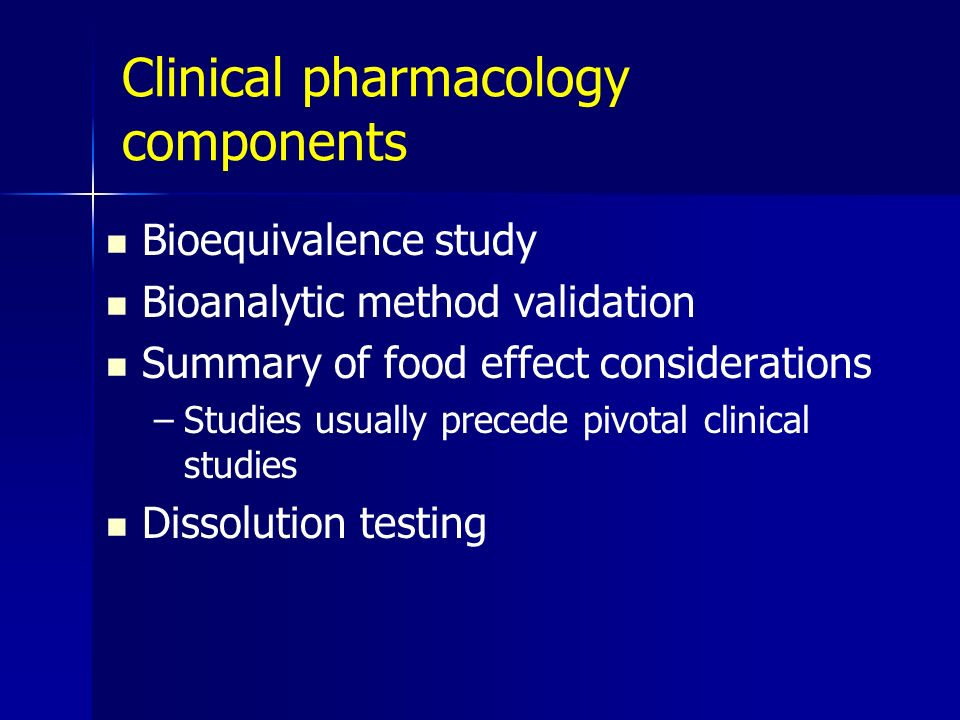Clinical pharmacology components