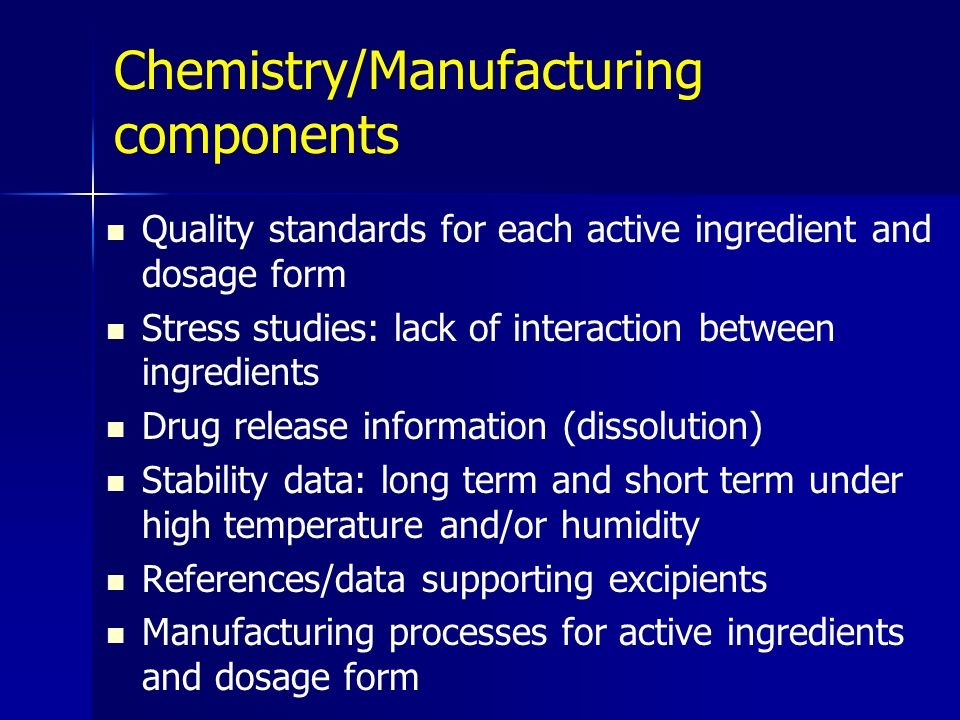 Chemistry/Manufacturing components