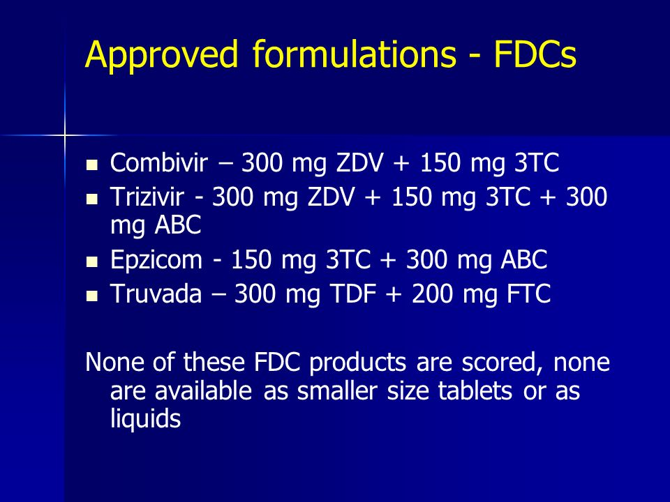 Approved formulations - FDCs