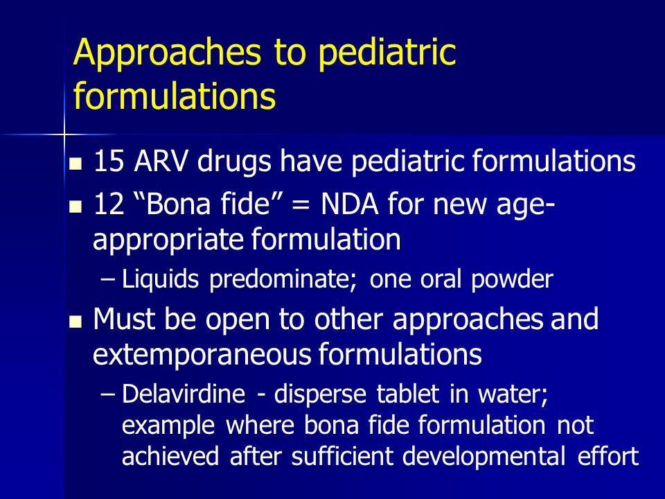 Approaches to pediatric formulations