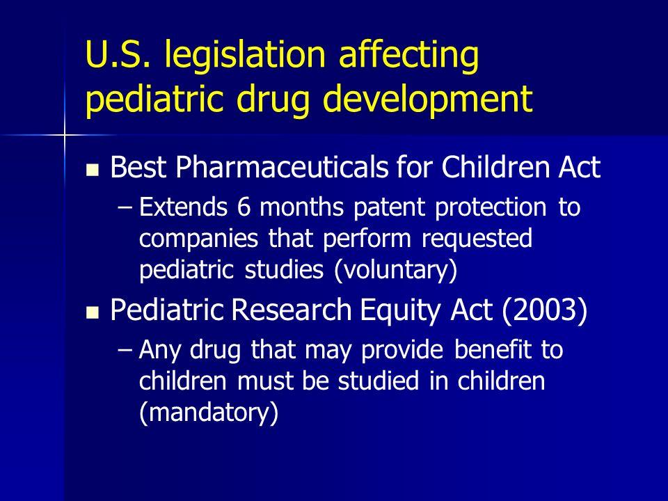 U.S. legislation affecting pediatric drug development