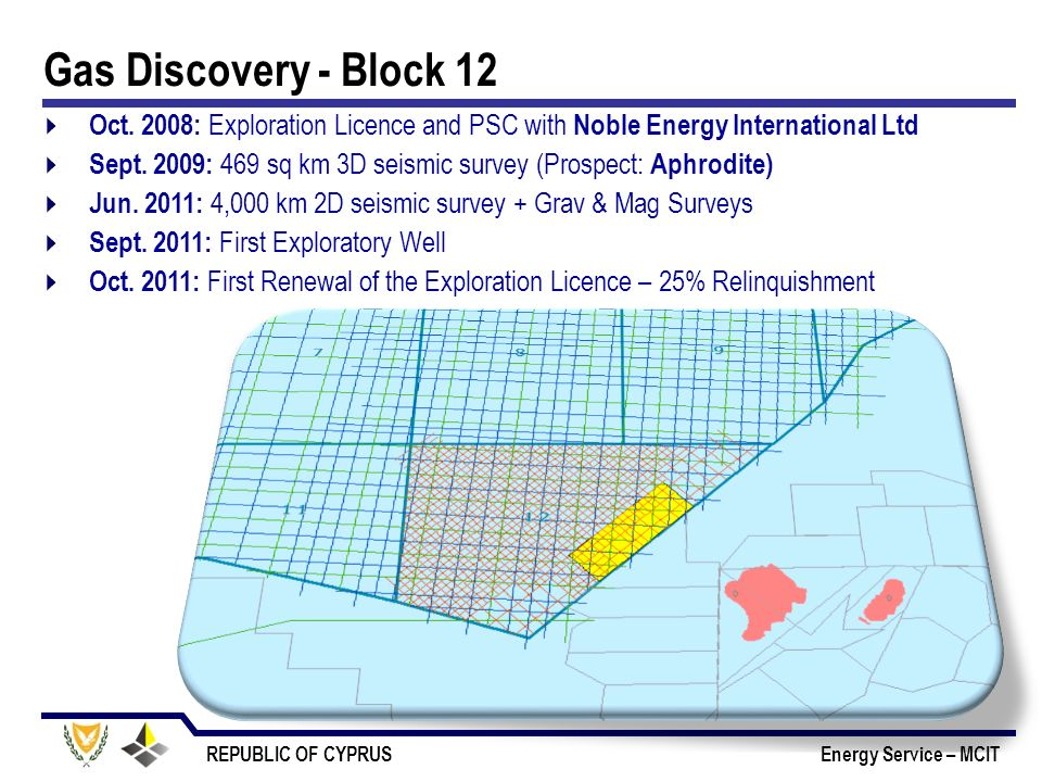 Gas Discovery - Block 12 Oct. 2008: Exploration Licence and PSC with Noble Energy International Ltd.