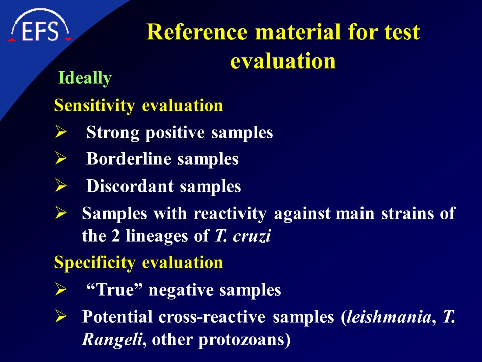 Reference material for test evaluation