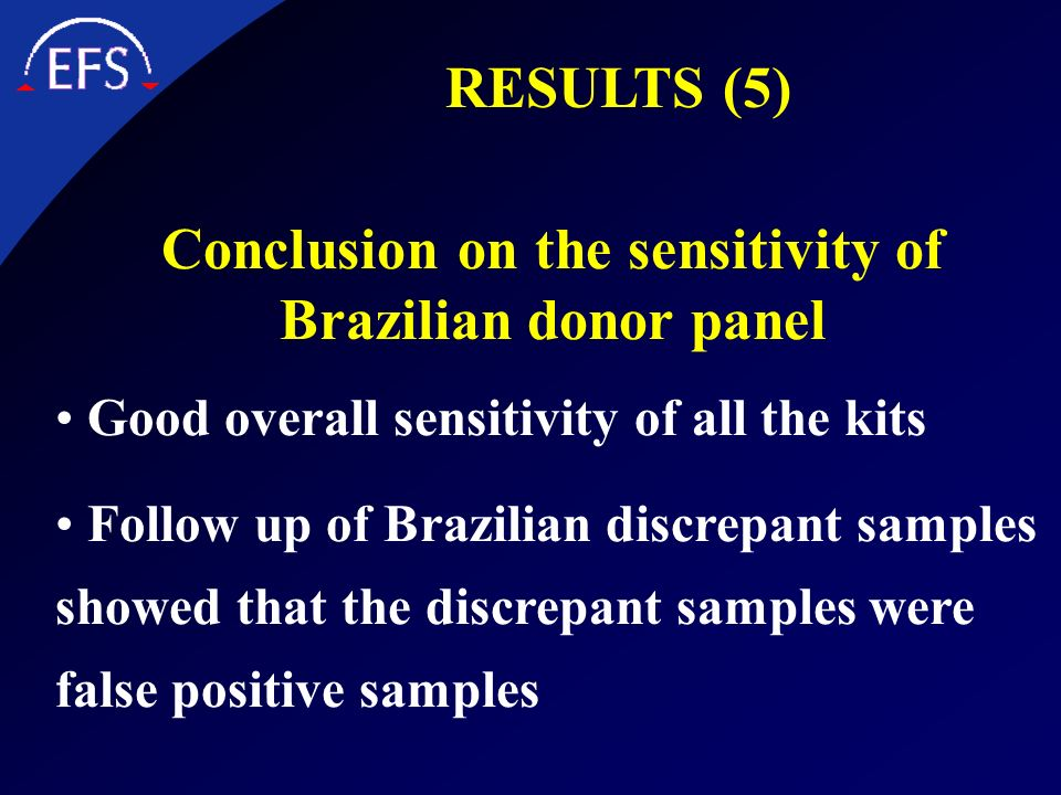 Conclusion on the sensitivity of Brazilian donor panel