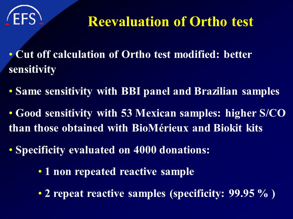 Reevaluation of Ortho test
