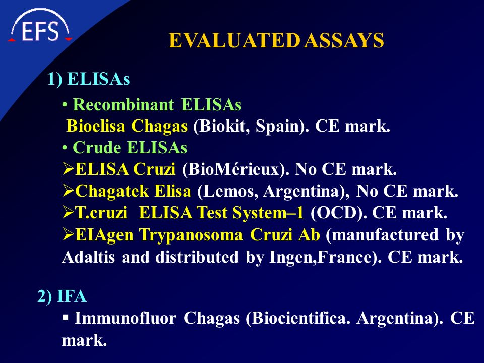 EVALUATED ASSAYS 1) ELISAs Recombinant ELISAs
