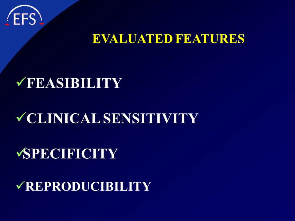 FEASIBILITY CLINICAL SENSITIVITY SPECIFICITY EVALUATED FEATURES