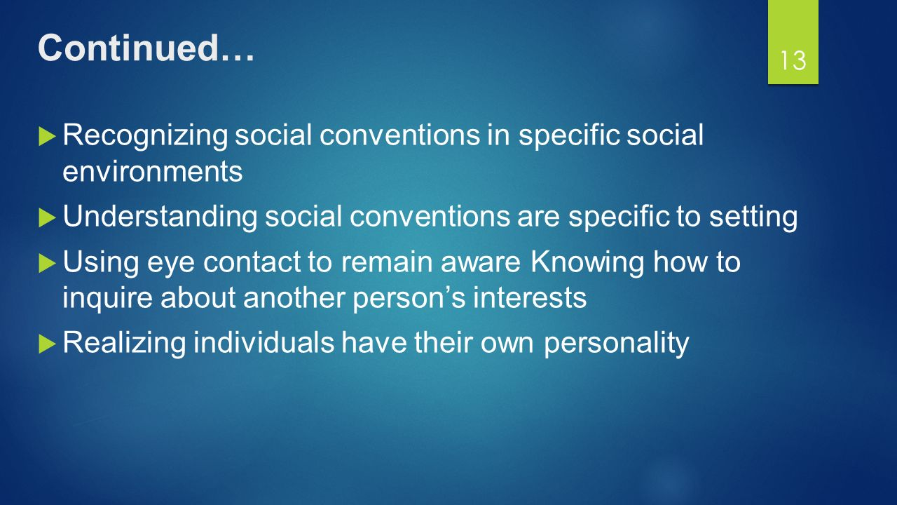SOCIAL CONVENTIONS