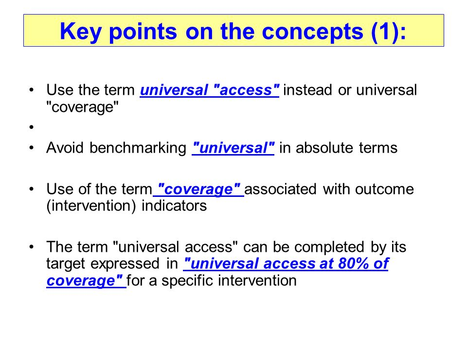 Key points on the concepts (1):