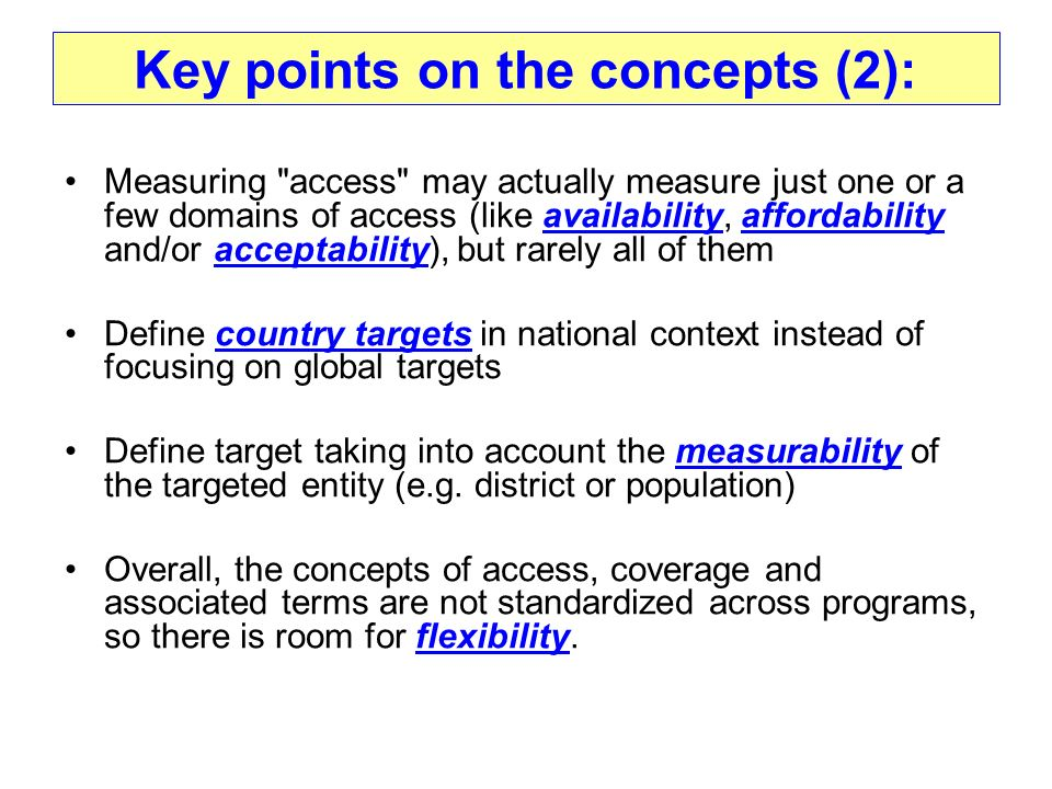 Key points on the concepts (2):