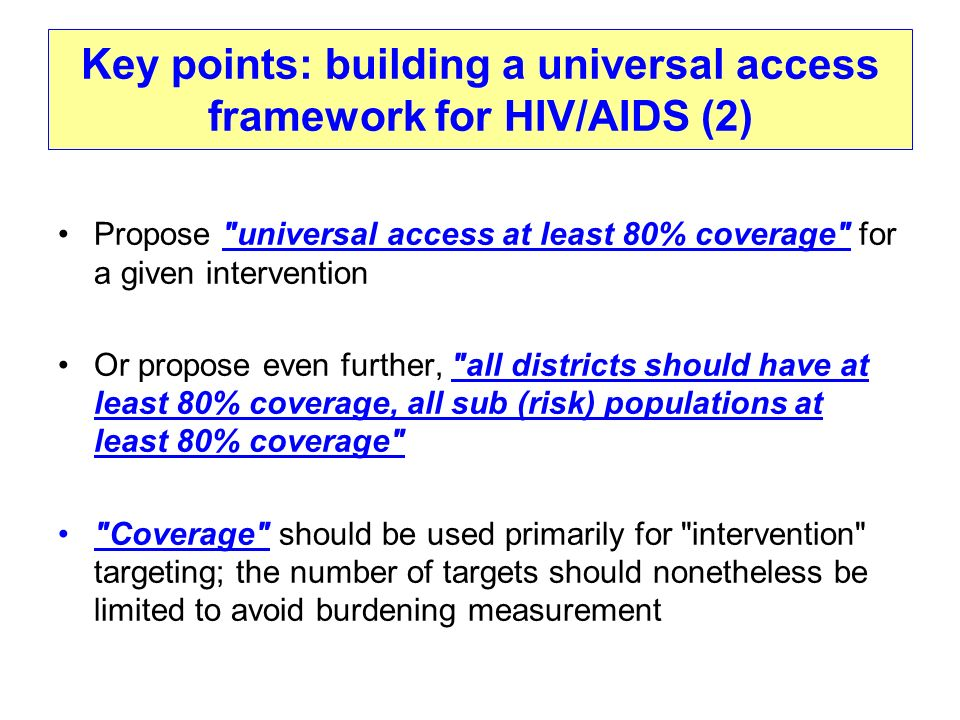 Key points: building a universal access framework for HIV/AIDS (2)
