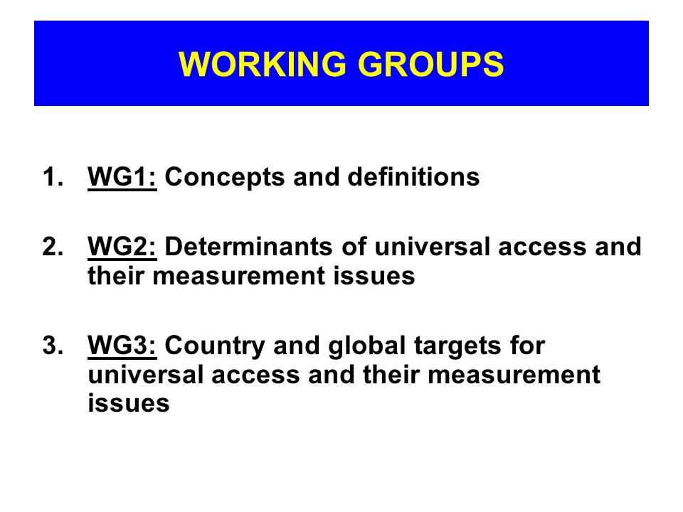 WORKING GROUPS WG1: Concepts and definitions