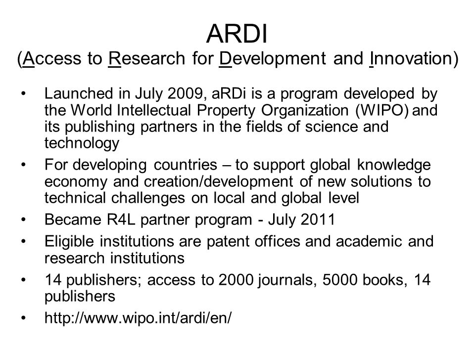 ARDI (Access to Research for Development and Innovation)