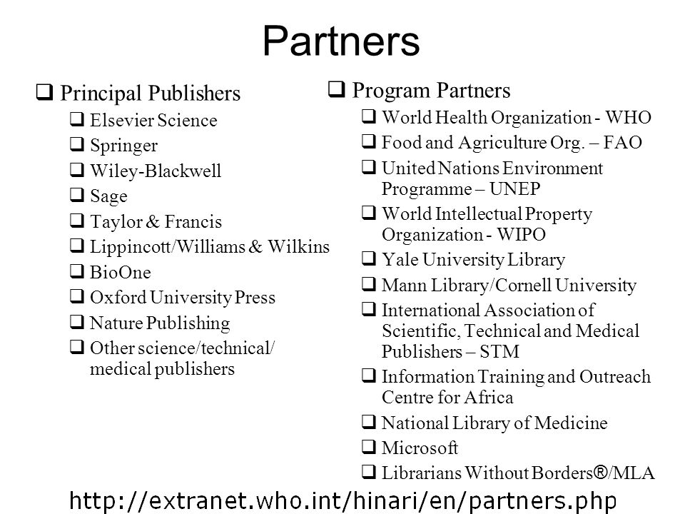 Partners Program Partners Principal Publishers