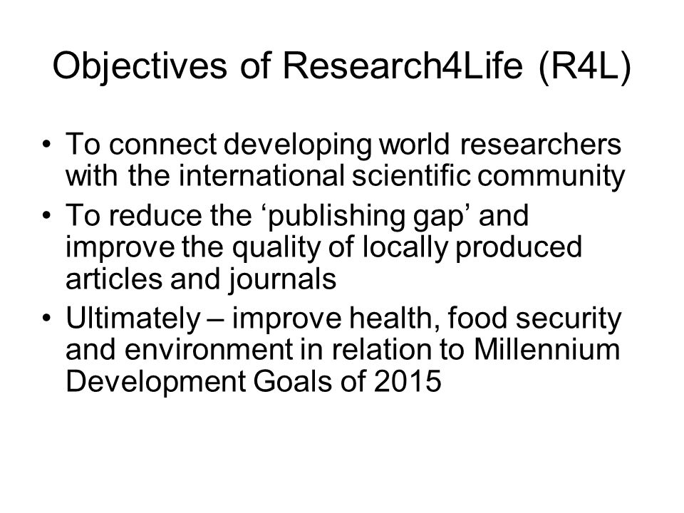 Objectives of Research4Life (R4L)