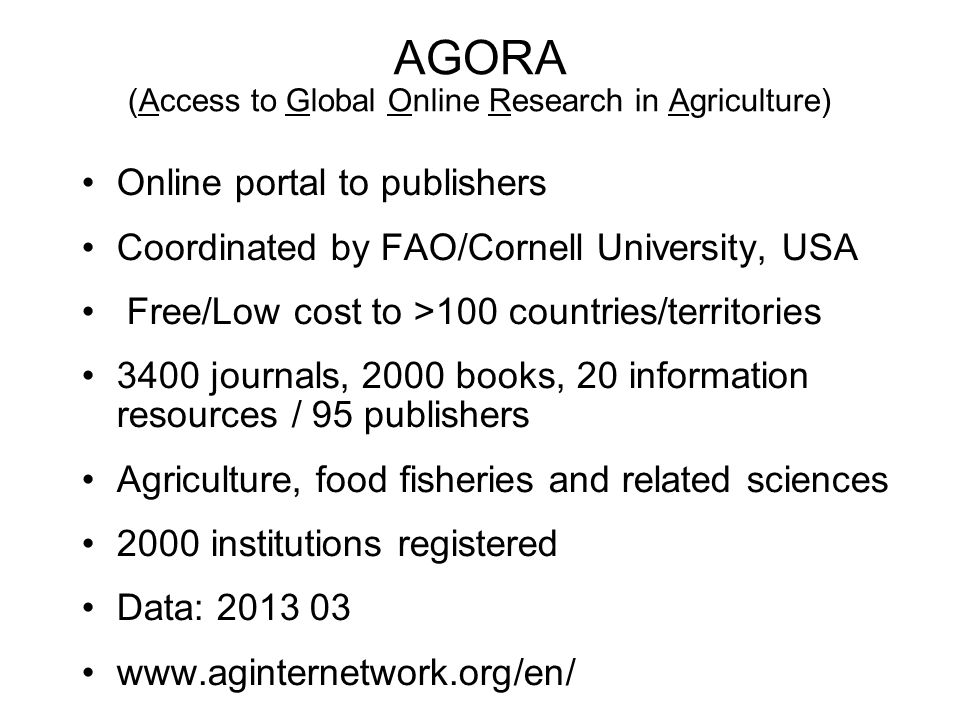 AGORA (Access to Global Online Research in Agriculture)