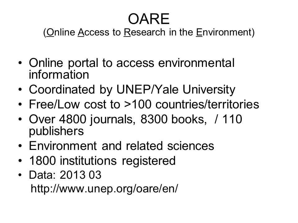 OARE (Online Access to Research in the Environment)