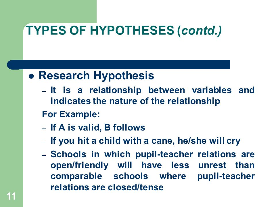 Formulating questions and hypotheses about