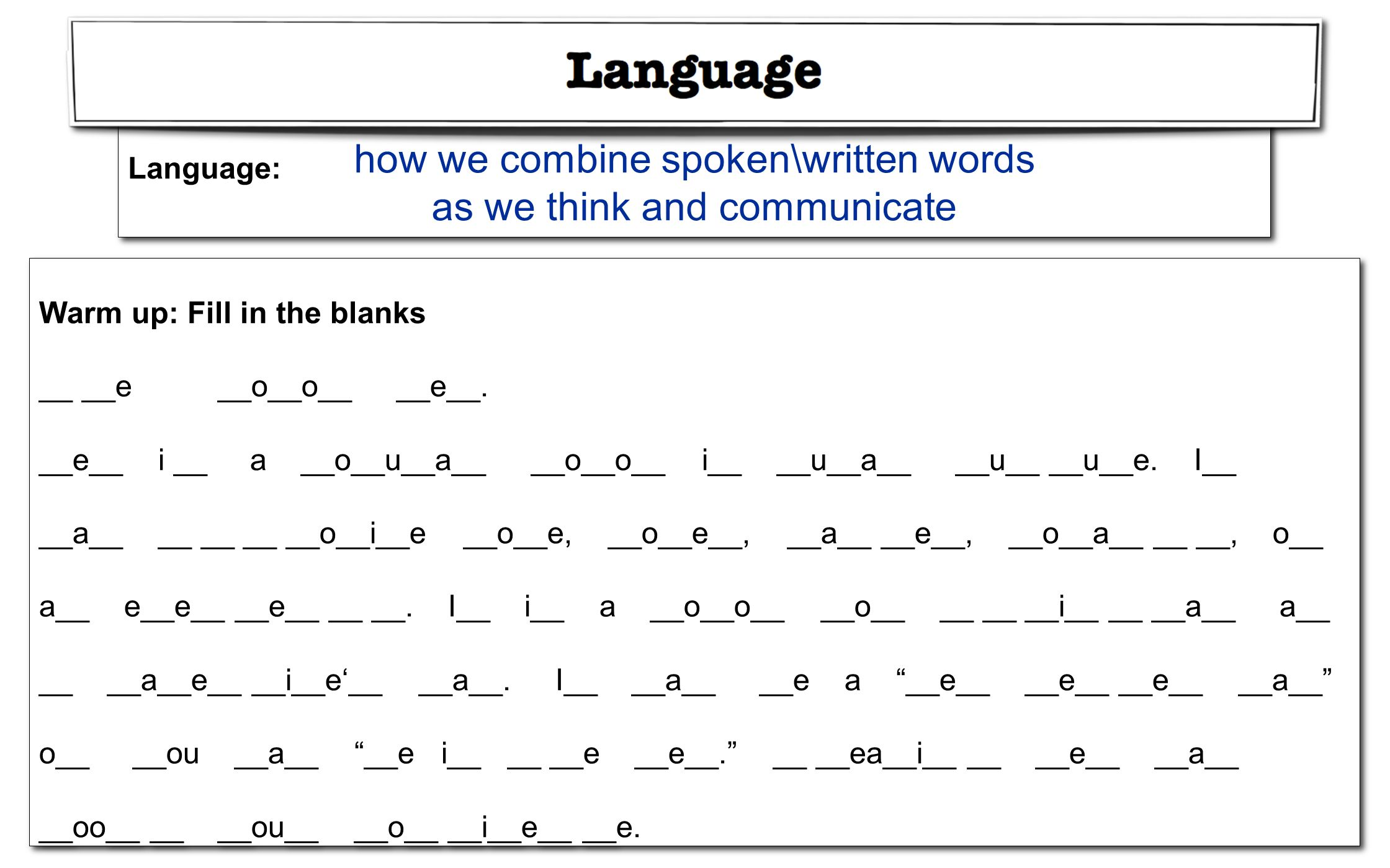 how we combine spoken\written words as we think and communicate