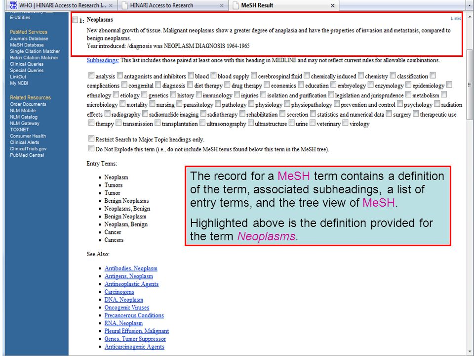 MeSH Terms The record for a MeSH term contains a definition of the term, associated subheadings, a list of entry terms, and the tree view of MeSH.