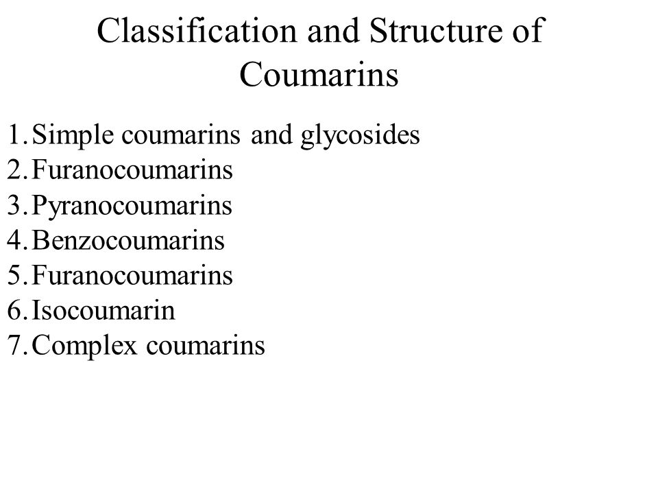 Classification and Structure of Coumarins