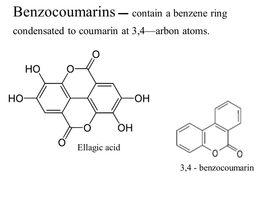 Benzocoumarins  contain a benzene ring condensated to coumarin at 3,4—arbon atoms.