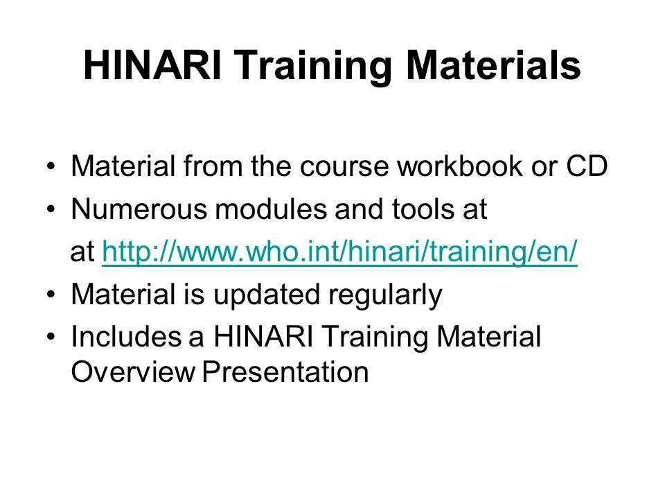 HINARI Training Materials