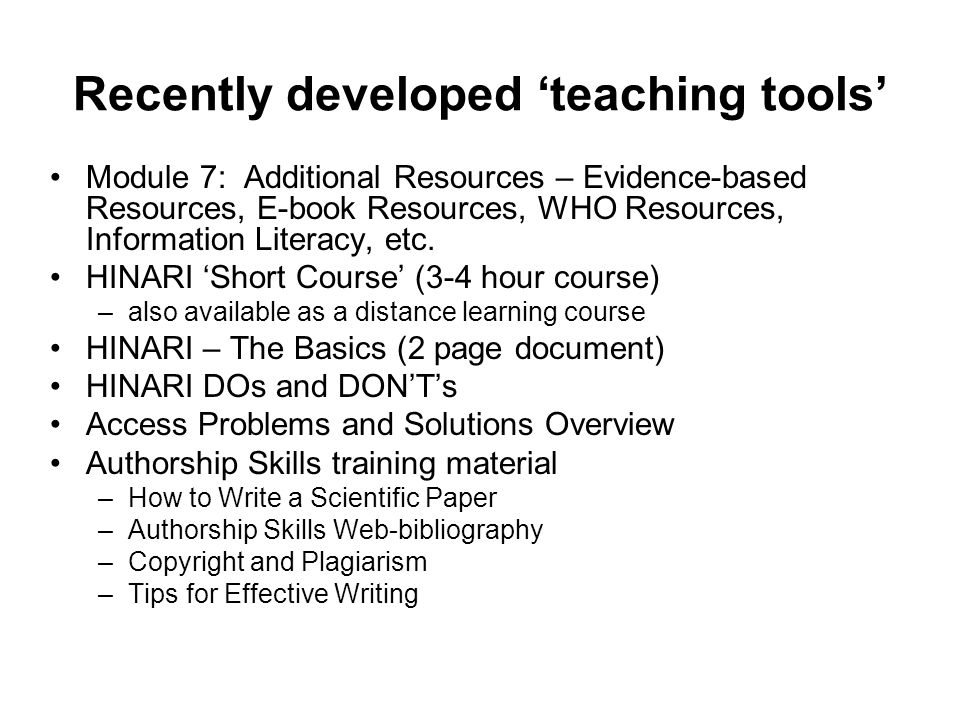 Recently developed 'teaching tools'