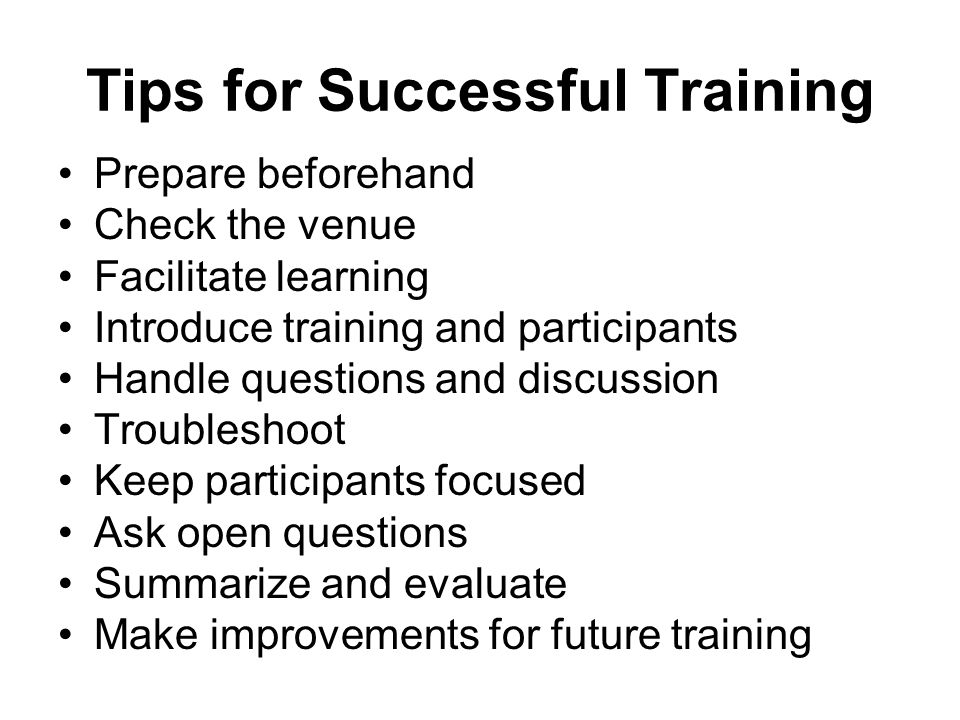 Tips for Successful Training