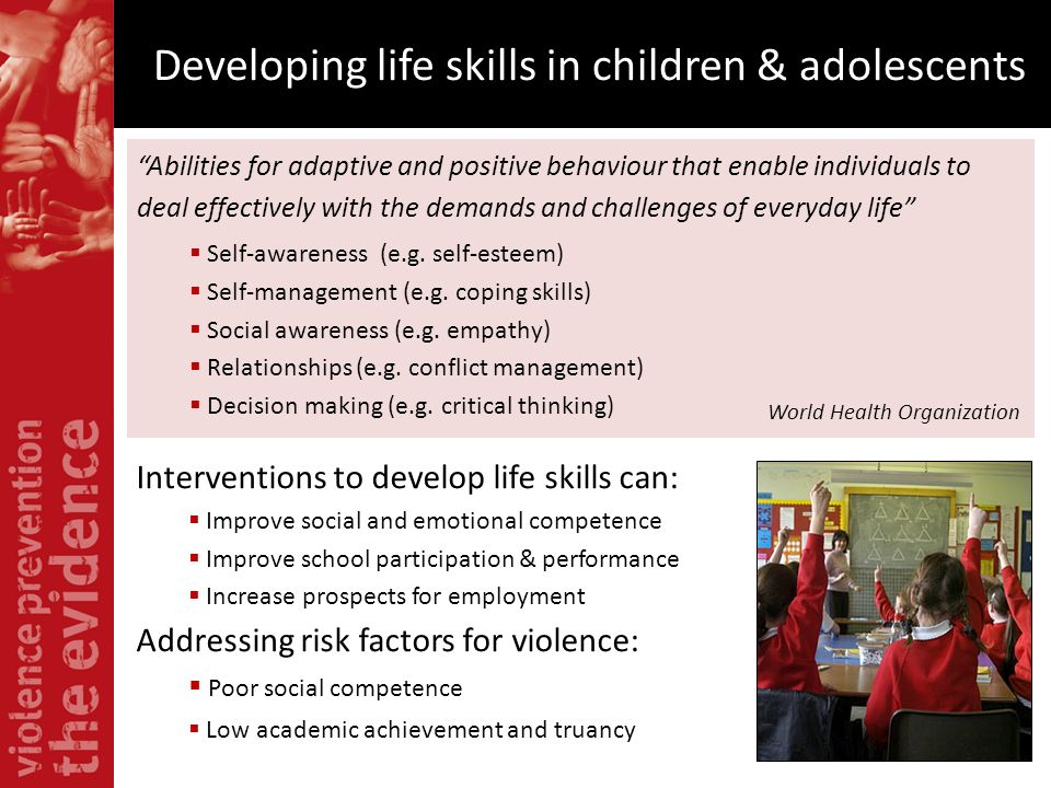 Developing life skills in children & adolescents