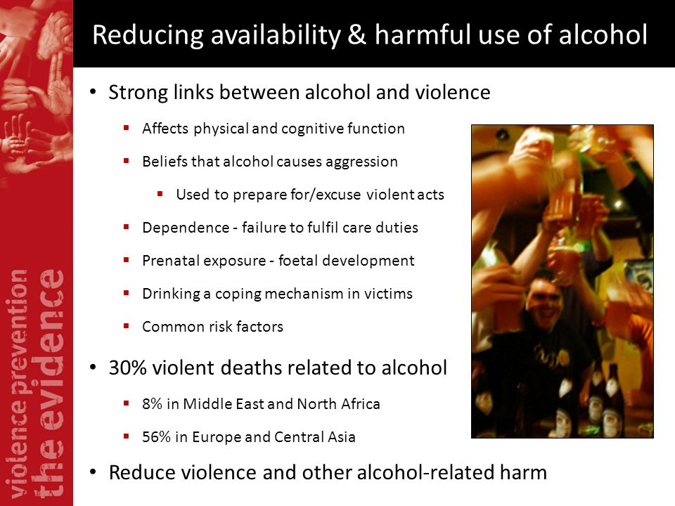 Reducing availability & harmful use of alcohol