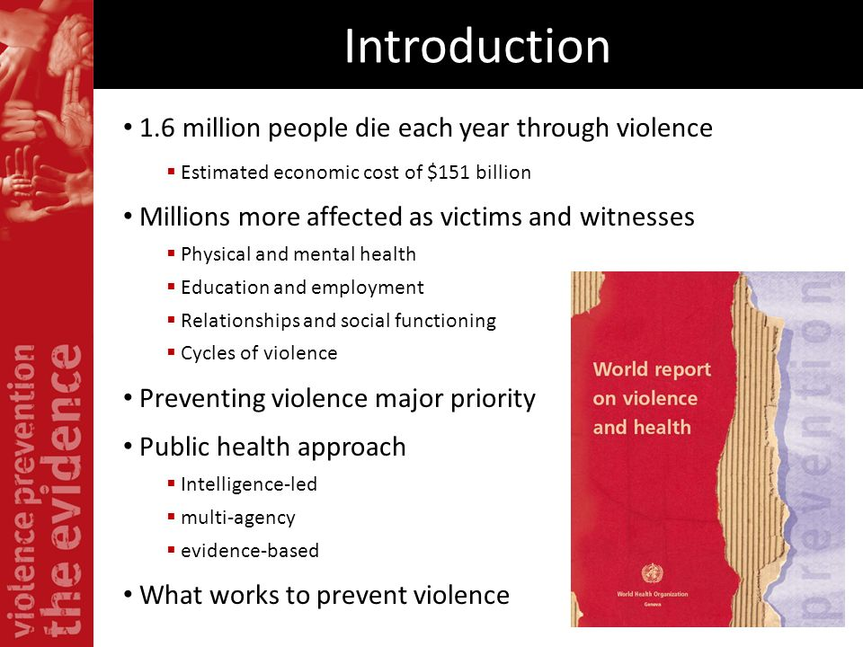 Introduction 1.6 million people die each year through violence