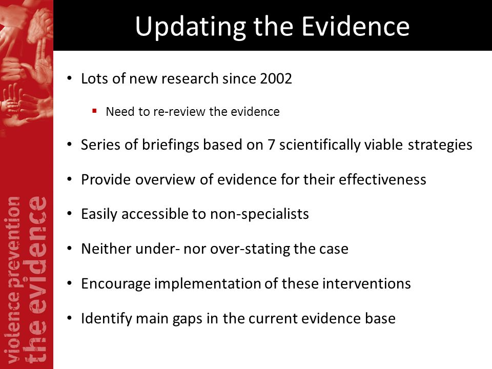 Updating the Evidence Lots of new research since 2002