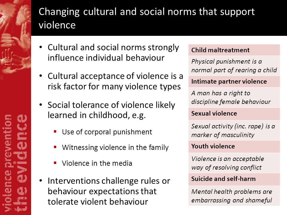 Changing cultural and social norms that support violence