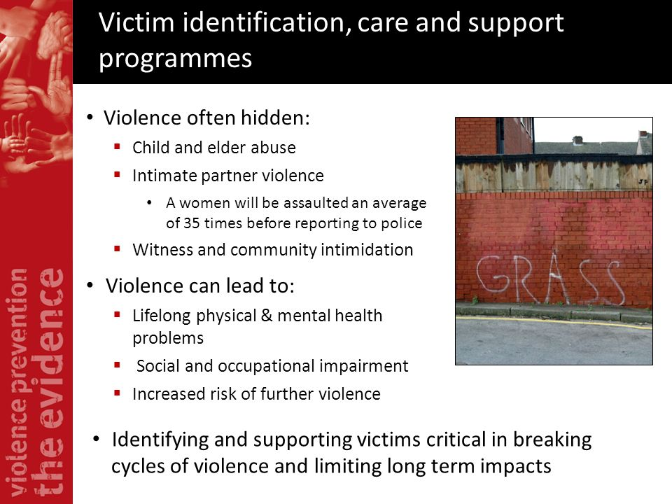 Victim identification, care and support programmes