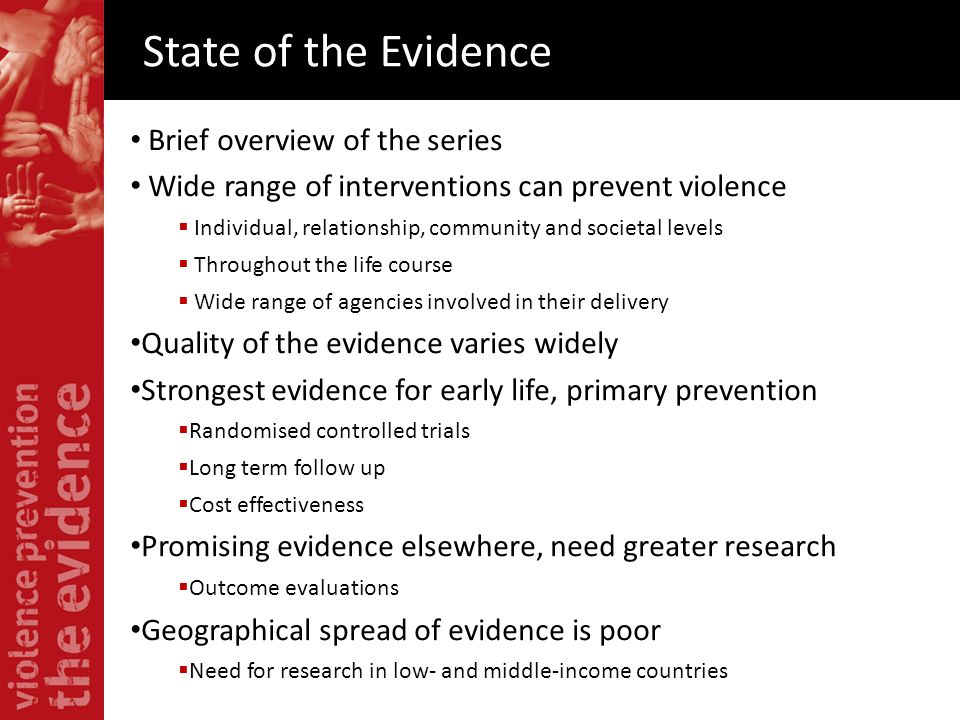 State of the Evidence Brief overview of the series