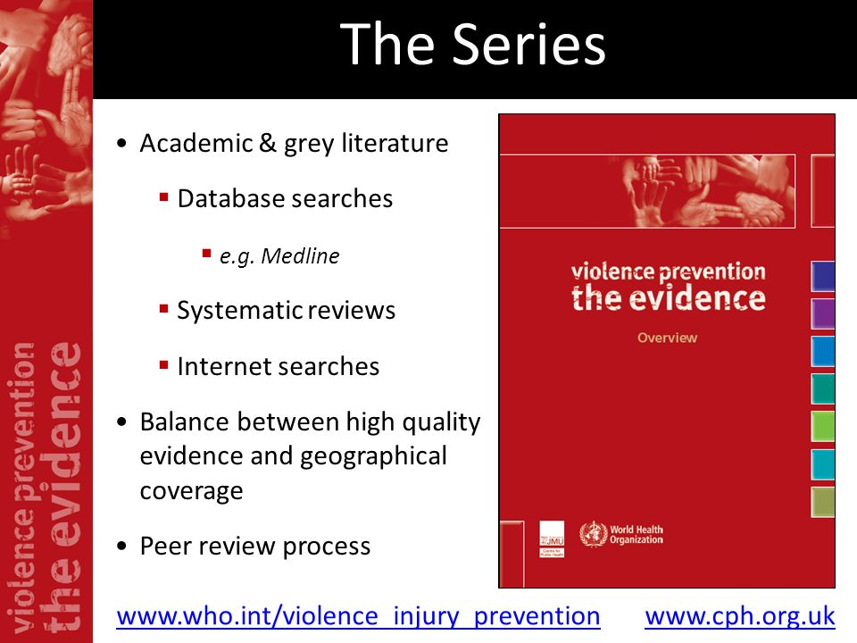 The Series Academic & grey literature Database searches e.g. Medline