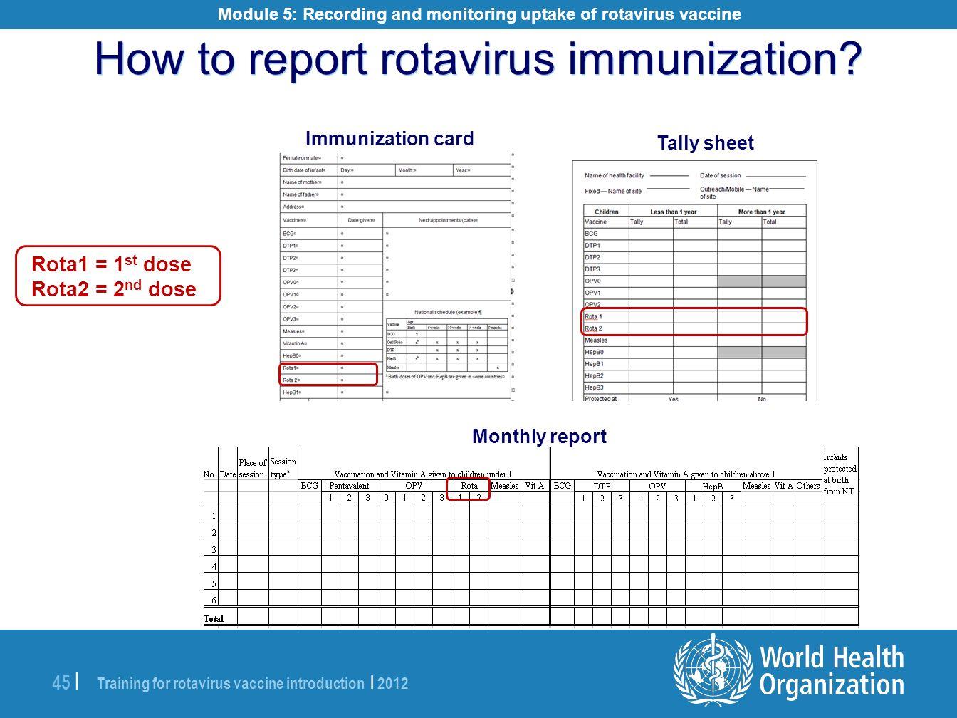Module 5: Recording and monitoring uptake of rotavirus vaccine