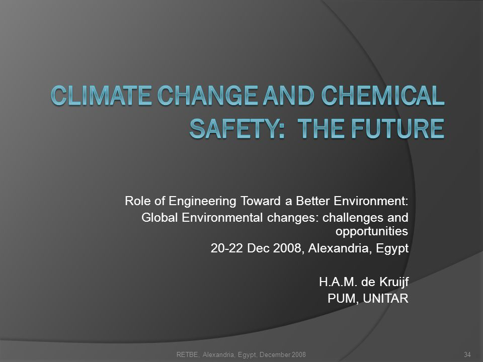 Climate change and chemical safety: the future