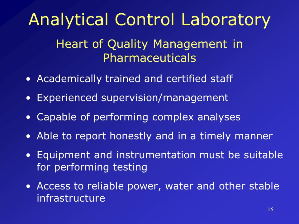 Analytical Control Laboratory