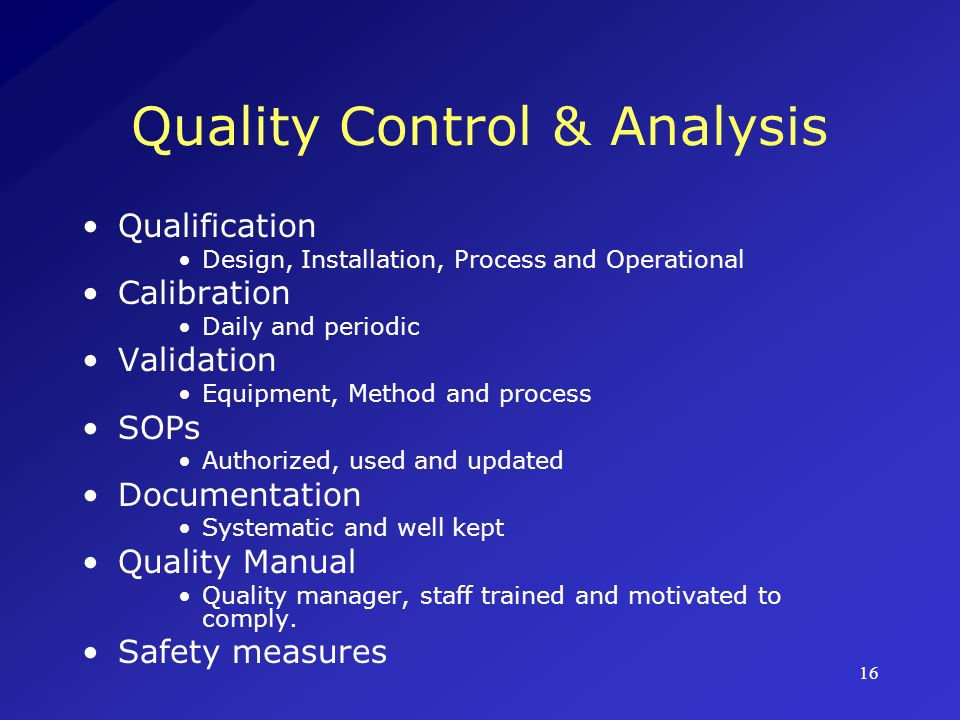 Quality Control & Analysis