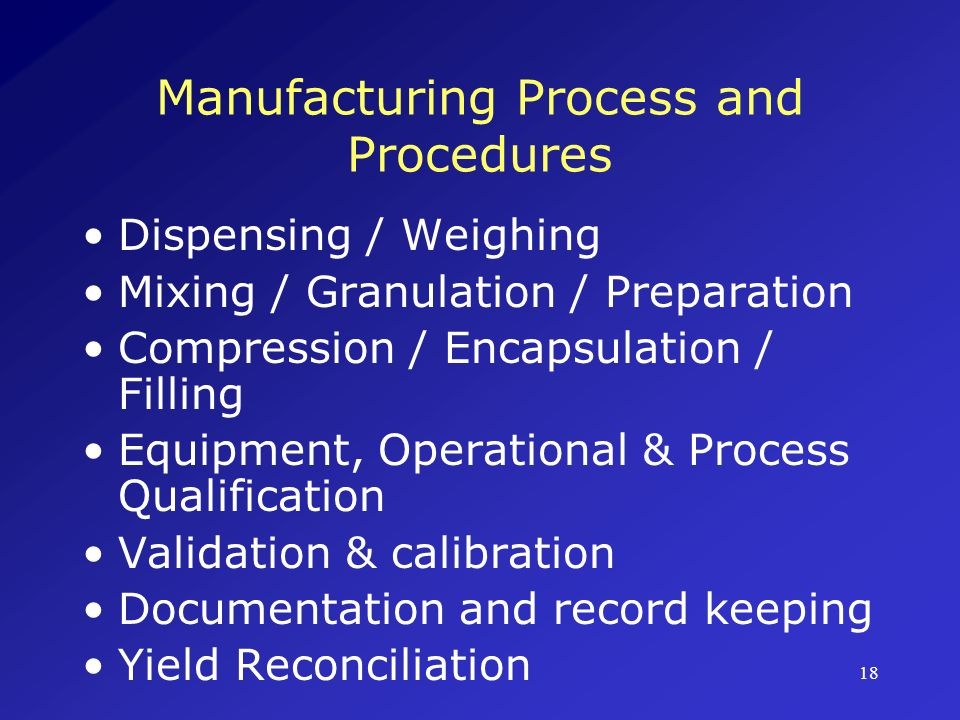 Manufacturing Process and Procedures
