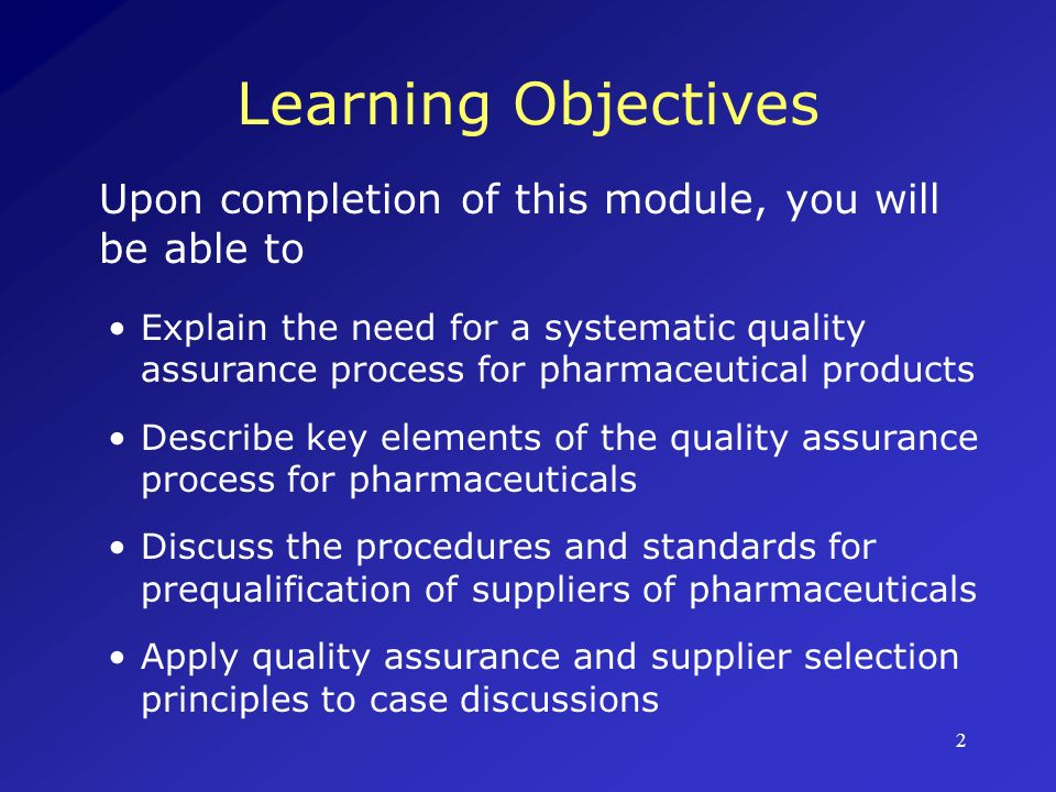 Learning Objectives Upon completion of this module, you will be able to.