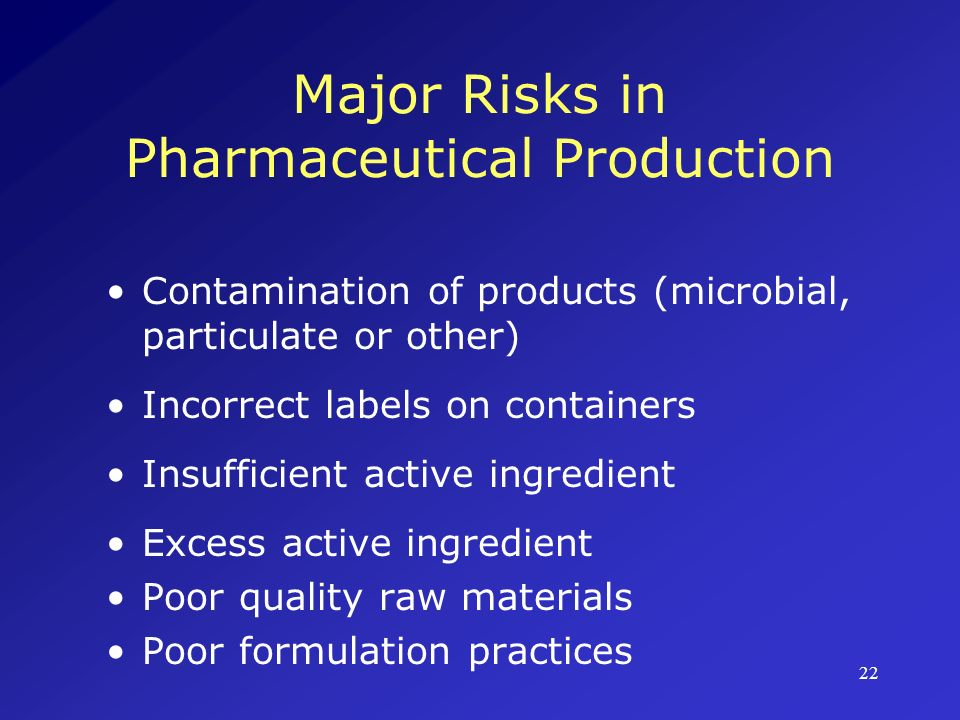 Major Risks in Pharmaceutical Production