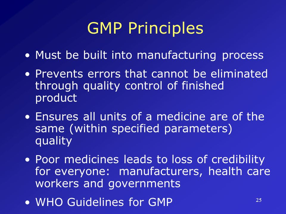 GMP Principles Must be built into manufacturing process