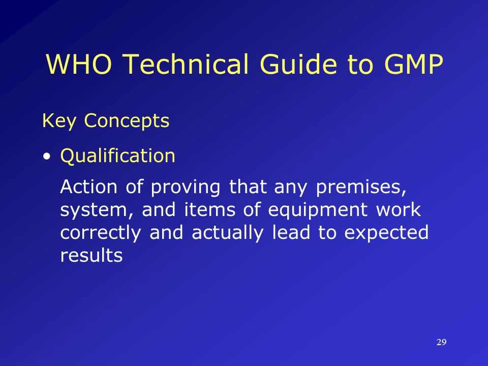 WHO Technical Guide to GMP