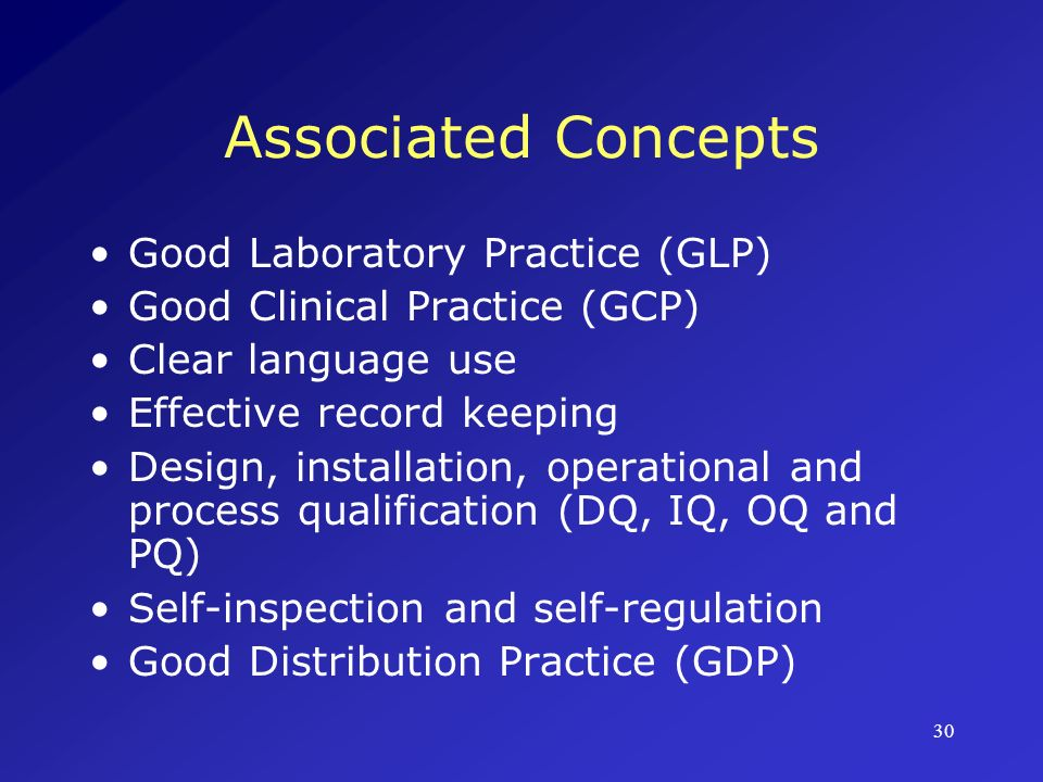 Associated Concepts Good Laboratory Practice (GLP)