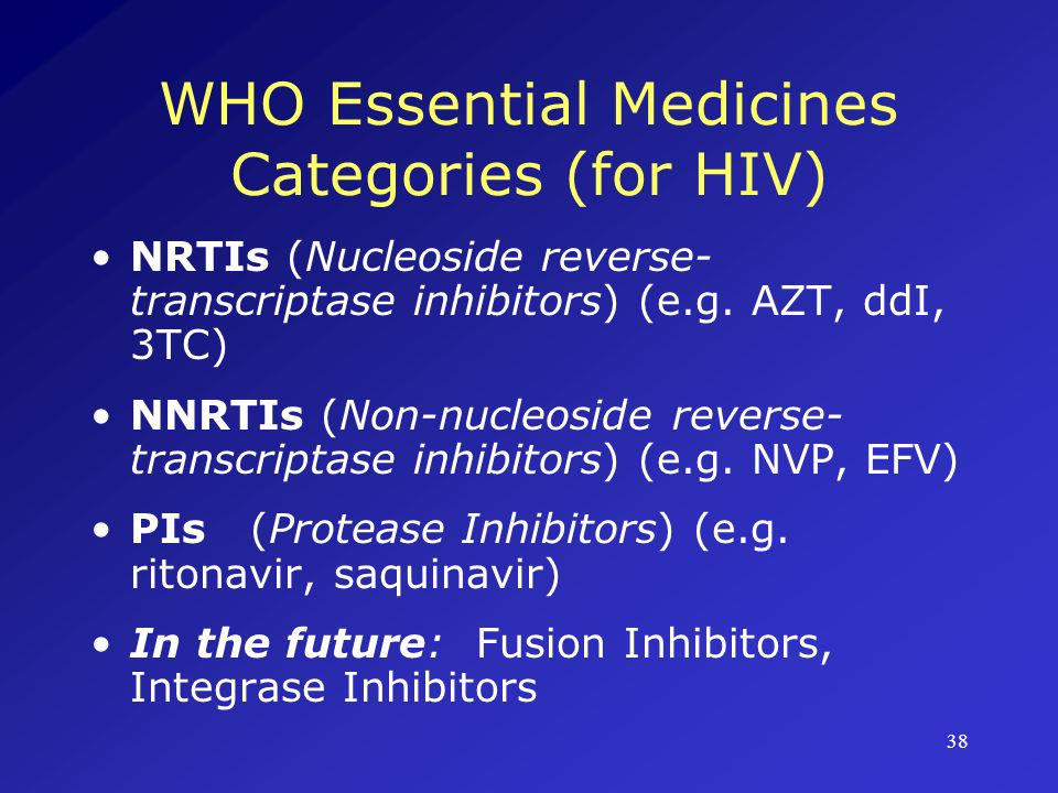 WHO Essential Medicines Categories (for HIV)
