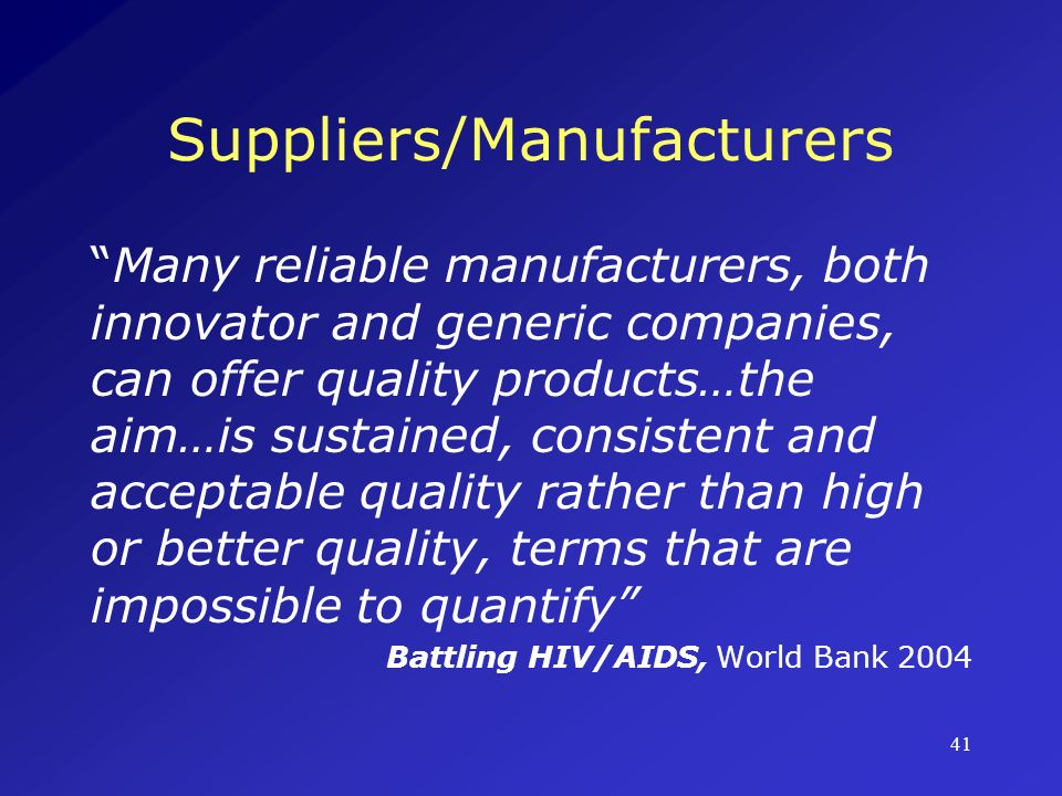 Suppliers/Manufacturers