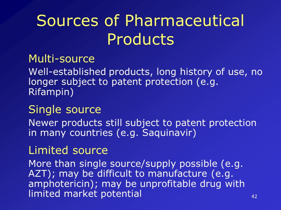 Sources of Pharmaceutical Products